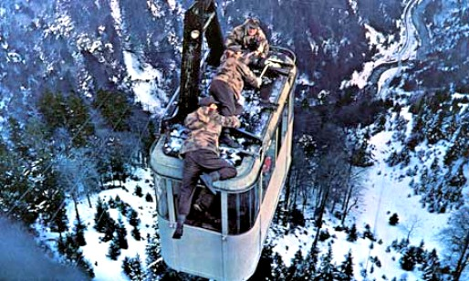 Image result for where eagles dare cable car fight scene
